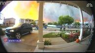 لحظه فرار مردم از حادثه آتش سوزی کالیفرنیا + فیلم