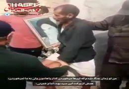 سردار سلیمانی بر دستان پیرمرد سیل زده بوسه زد+ فیلم