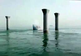 اولین فیلم از لحظه غرق شدن کشتی ایرانی بهبهان در آبهای عراق