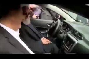 ماشین سواری روحانی و جهانگیری با خودروی جدید ایرانی+ فیلم