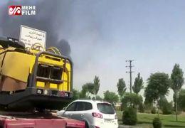 آتش سوزی یک انبار کالا در اتوبان بهشت زهرا +فیلم