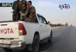 ارتش سوریه با نظامیان آمریکا در شهر  منبج رو در رو شد + فیلم