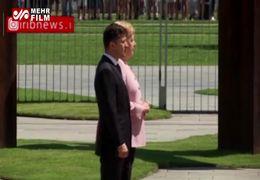لرزیدن آنگلا مرکل در دیدار با رئیس جمهور جدید اوکراین+ فیلم