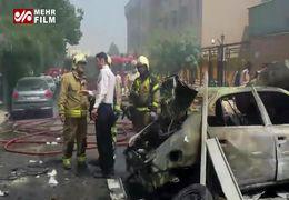 فیلم انفجار و آتشسوزی یک مغازه تعمیرات خودرو در تهران
