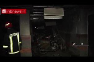 فیلمی از آتش سوزی مجتمع مسکونی در خیابان انسجام شهر قم